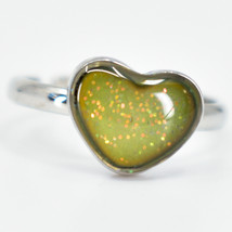 Kid's Fashion Silver Tone Mini Heart Color Changing Fashion Adjustable Mood Ring