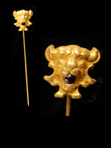 Antique Lion STICKPIN - Victorian lapel pin - ruby Jeweled mouth - red r... - $225.00
