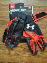 Under Armour Clean Up Batting Gloves Youth Medium NEW YMD Black and Red - $11.88