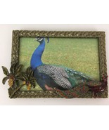 Regal Peacock Palm Tree Rhinestones Ornate Enamel Cast Metal Picture Pho... - $17.96