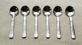 Set of 6 Oneida Dimpled Satin Handle Stainless Flatware ROUND BOWL Soup SPOONS - $24.70
