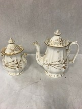 2 piece Coffee tea pot with lid sugar bowl gilded gold Vintage Mid Century - $29.81