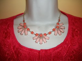 STATEMENT BIB NECKLACE   PINK  & RED BIG BOLD Wedding PROM - $19.79