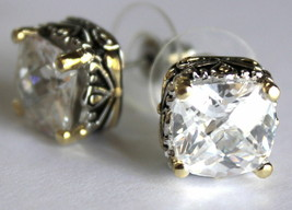 10mm Womens 2 Tone Throne Room Checker Cut Clear Cubic Zirconia Cz Post Earrings - $59.00