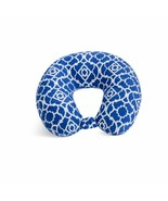 Feather Soft Microfiber Travel Neck Pillow, Cobalt Blue Trellis - $9.60