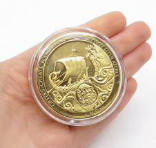 925 Sterling Silver - Vintage Gold Plated Greek Literature Coin Medallio... - $210.48