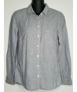J. CREW Womens Blue Linen Blend Button Up Down Shirt Top Size 0 Long Sleeve - $24.99