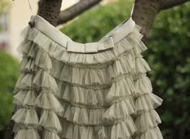 Green Ruffle Tiered Tulle Skirt Layered Long Bridal Wedding Prom Tulle Skirt image 6