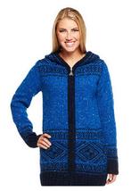 Aran Craft Wool Long Intarsia Zip Hoodie , Blue, Size XXS, MSRP $144 - $79.19
