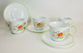 Corning Corelle Wildflower Cups & Saucers Set of 3 Orange Floral Vintage - $15.79