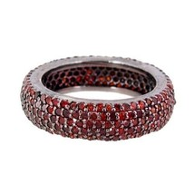 Natural 2.15 Ct RED Diamond Pave Band Eternity Ring Sterling Silver Jewe... - $468.87