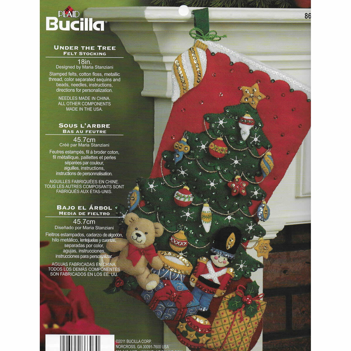 Primary image for Bucilla 'Under the Tree' Stocking Embroidery Applique  Kit-86303