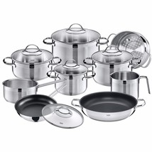 WMF Silit Achat 14 Pc Cookware Set, 18/10 Stainless Steel Cookware Set