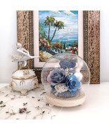 Flora Arrangement with Preserved Rose and Moss Bear Figurine in LED Glas... - $36.95+