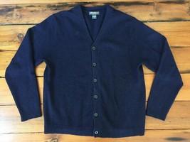 Eddie Bauer 100% Wool Navy Blue Button Down Cardigan Grandpa Sweater Men... - $25.89