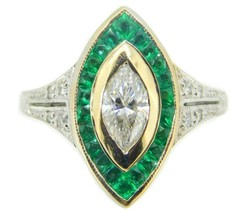 18k Gold .70ct Genuine Natural Diamond Ring with 1.5ct Emerald Halo (#J4110) - $2,925.00