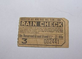 1939 VINTAGE ROCHESTER NY RED WINGS MINOR LEAGUE BASEBALL TICKET STUB GR... - $26.72