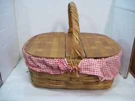 Picnic Basket Wood Wicker Vintage Woven Lids Red White Gingham Lined Eat... - $39.55