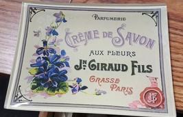 Glass Tray - of French Creme de Savon Purple Ribbon Vintage Styled - $11.99