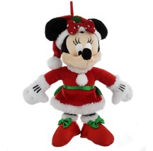 disney parks christmas ornament santa minnie mouse plush new with tag - $22.02