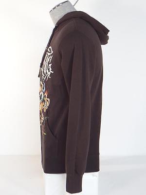 Billabong Signature Skull Graphics Brown Hoodie Hooded Sweat Jacket Mens NWT