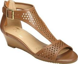 Aerosoles Sapphire Size US 8 M EU 38.5 Women's Leather T-Strap Wedge Sandals Tan - $59.35