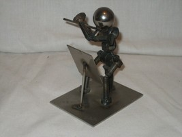 Musical Flute Player Metal Bolt People by Appel's Home Office Decor Foca... - $17.72