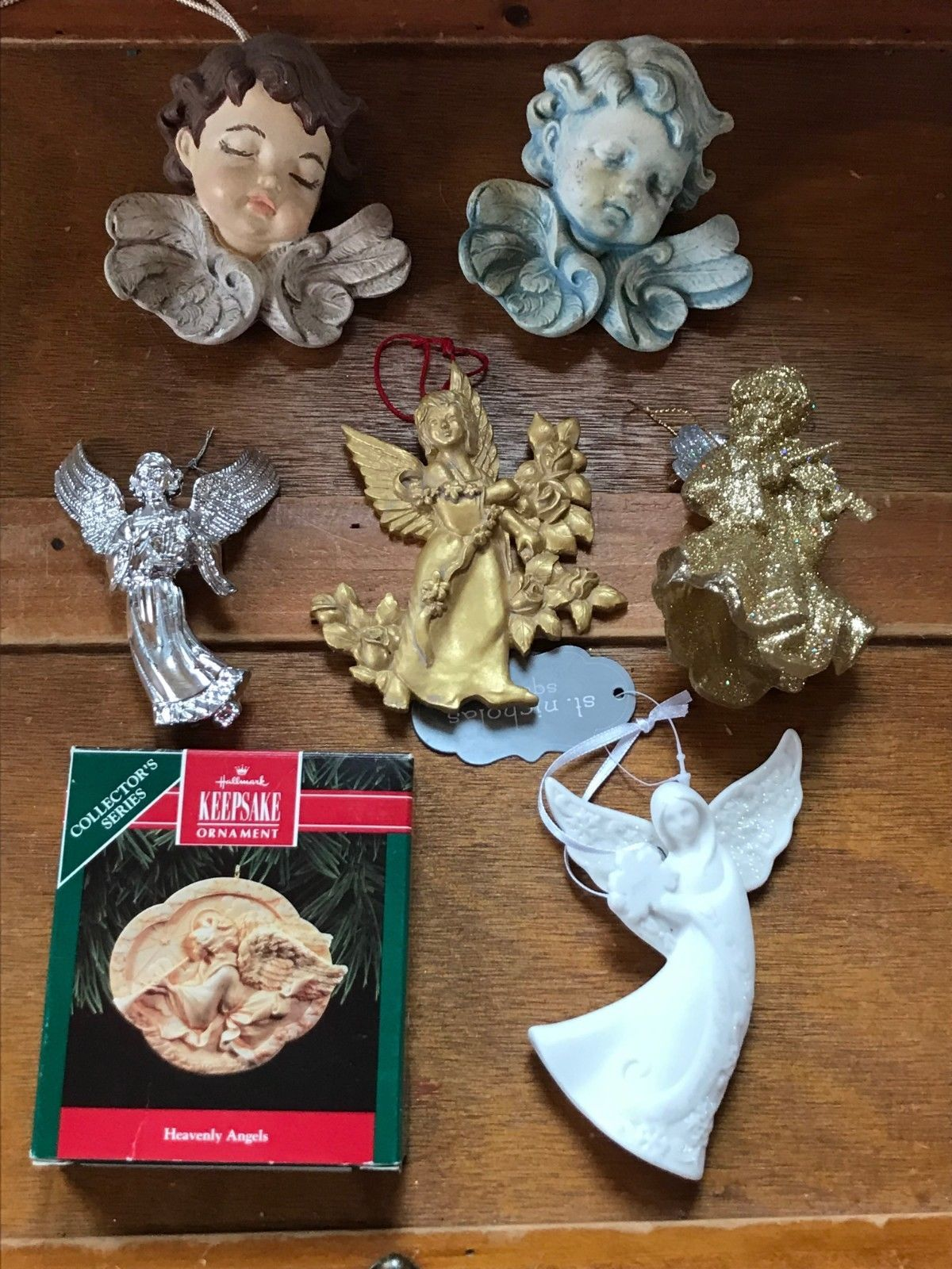 Estate Lot of Hallmark Heavenly Gilt Painted Resin Sparkly Silver Plastic White