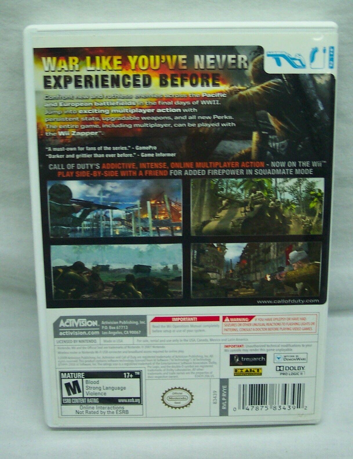 CALL OF DUTY World at War NINTENDO WII Video Game Complete w/ Manual 2008