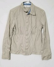 Tommy Hilfiger Large Women's Tan Shirt Snap Front Snap Cuff Size - $7.93