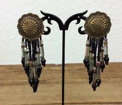 "Vintage Black Bead with Medal Dangle 3.5"" Post Pierced Earrings     (104) - $14.84"