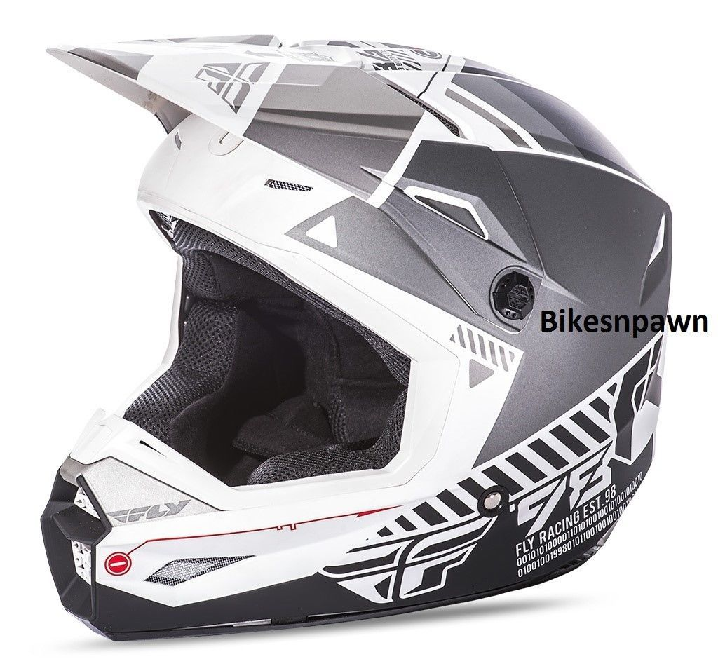 New XS Adult Fly Racing Elite Onset Helmet Matte White /Grey