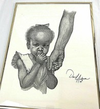 Original African American Art David L Anderson Mama's Girl Pencil Drawin... - $65.71