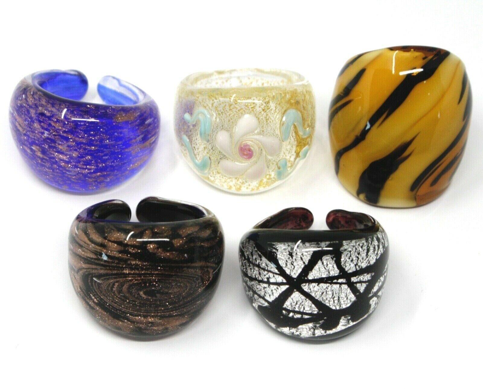LOT OF 5 ANTICA MURRINA VENEZIA RINGS, MURANO GLASS, SIZE 7.5