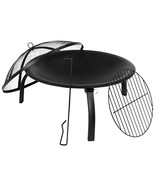 """Foldable 22.5"""" Wood Burning Firepit with Mesh Spark Screen and Poker - $73.54"""