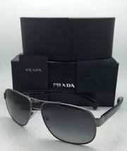 Polarized PRADA Sunglasses SPR 52P 5AV-5W1 61-15 Gunmetal Aviator w/ Gre... - $364.95