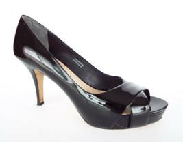 VIA SPIGA Size 7.5 Black Patent Open Toe Platform Pumps Heels Shoes 7 1/2 - $40.50