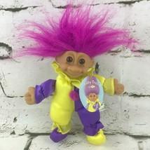 Vintage Russ Baby Troll Doll Plush Vinyl Purple Yellow Jester Clown Outf... - $14.84