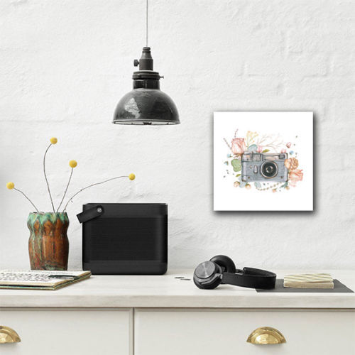 Camera with Flowers CANVAS Wall Art Home Decor