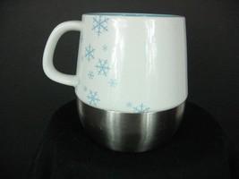 2007 Starbuck's Holiday collectible 10floz metal base ceramic top mug blue - $19.75