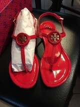 4cdae9b2046f Tory Burch Dillan Sandal Soft Patent leather Ruby NIB 9.5 Authentic Shoes  Women -  174.14