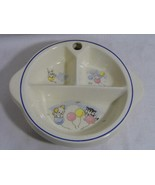 vintage EXCELLO pottery divided warmer baby food plate DISH / bunny pupp... - $8.99