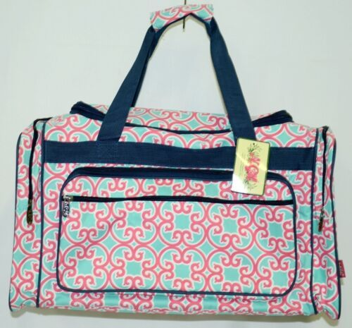 NGIL HUD423NY Southern Print Canvas Duffle Bag Colors Mint Pink White and Navy