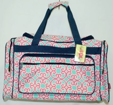 NGIL HUD423NY Southern Print Canvas Duffle Bag Colors Mint Pink White and Navy image 1