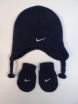 Nike Swoosh Dark Blue Knit Winter Hat & Mittens Infant 12-24 months NWT - $22.27