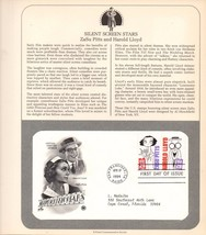 Silent Screen, Harold Lloyd and ZaSu Pitts, USPS 29 cent Stamp, Vintage... - $4.25