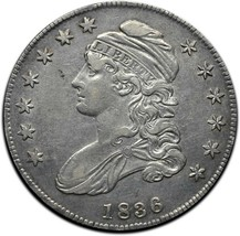 1836 Capped Bust Silver Half Dollar 50¢ Coin Lot# A 381