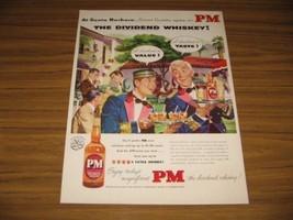 1953 Print Ad PM Whiskey At Santa Barbara Happy Waiters Talking - $14.48