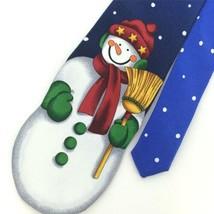 ADDICTION BLUE Red Grn SNOW MAN Broom Dots Christmas Men Necktie Tie X6-... - $19.79