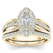Solid 14k Yellow Gold 0.62Ct Diamond Cluster Halo Bridal Ring Set - $779.99